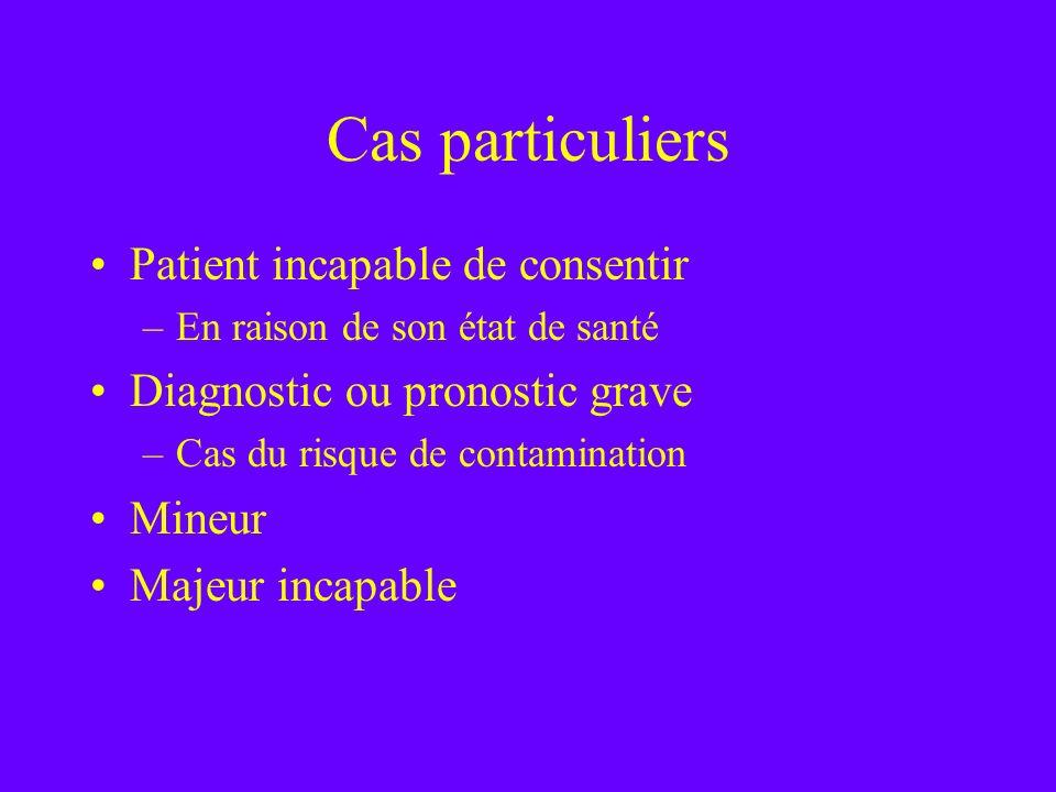 Cas particuliers Patient incapable de consentir