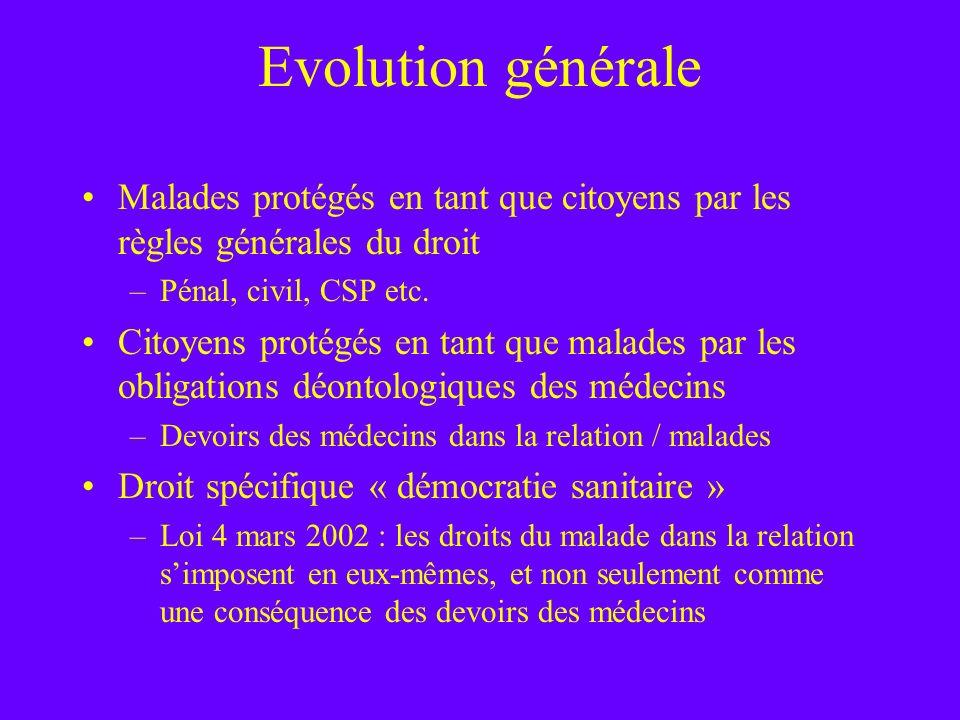 Evolution générale Malades protégés en tant que citoyens par les règles générales du droit. Pénal, civil, CSP etc.