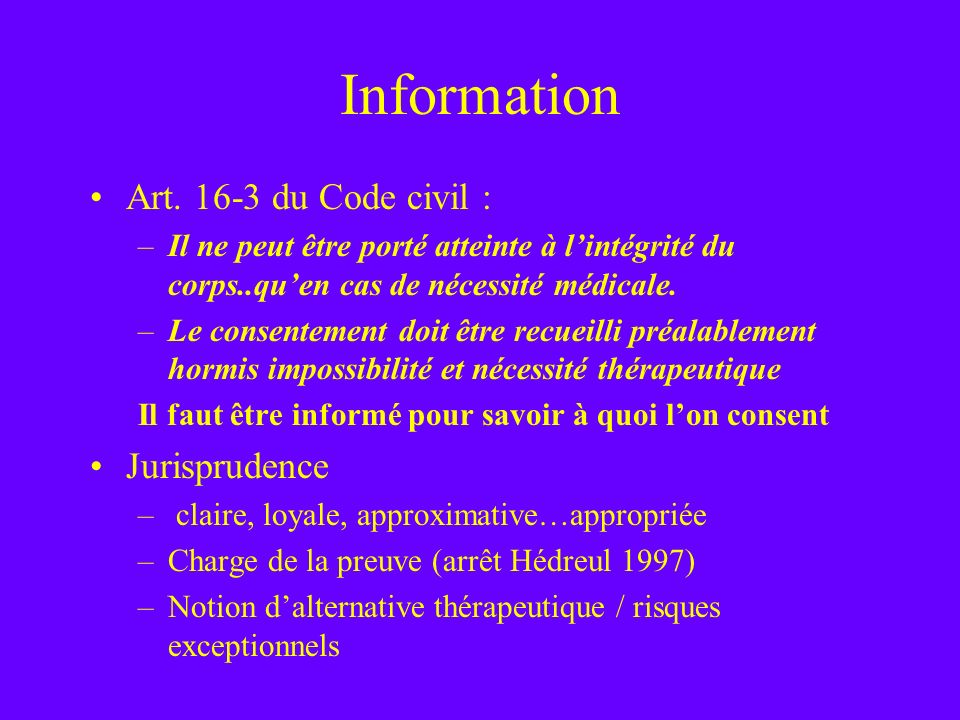 Information Art. 16-3 du Code civil : Jurisprudence