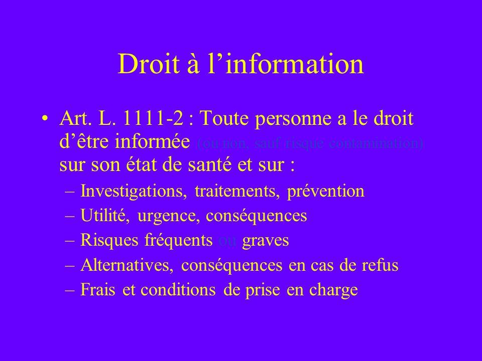 Droit à l'informationArt. L. 1111-2 : Toute personne a le droit d'être informée (ou non, sauf risque contamination) sur son état de santé et sur :