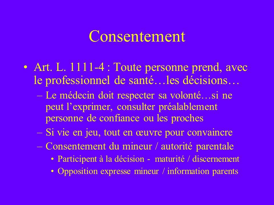 Consentement Art. L. 1111-4 : Toute personne prend, avec le professionnel de santé…les décisions…