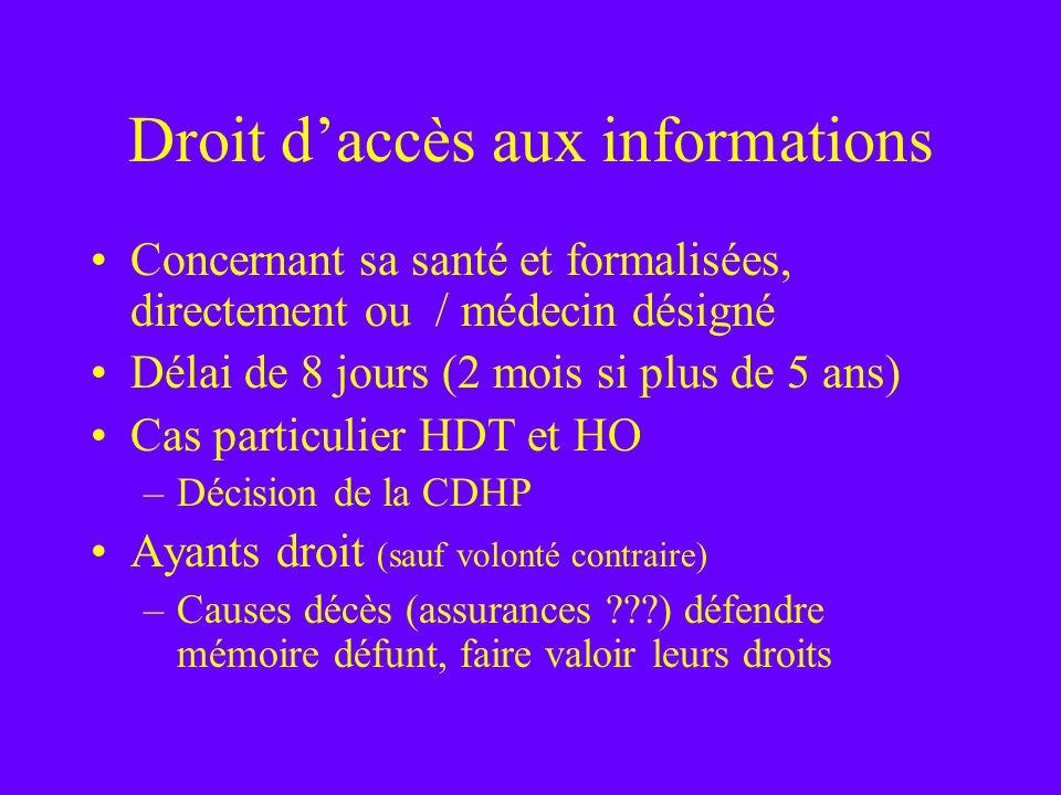 Droit d'accès aux informations