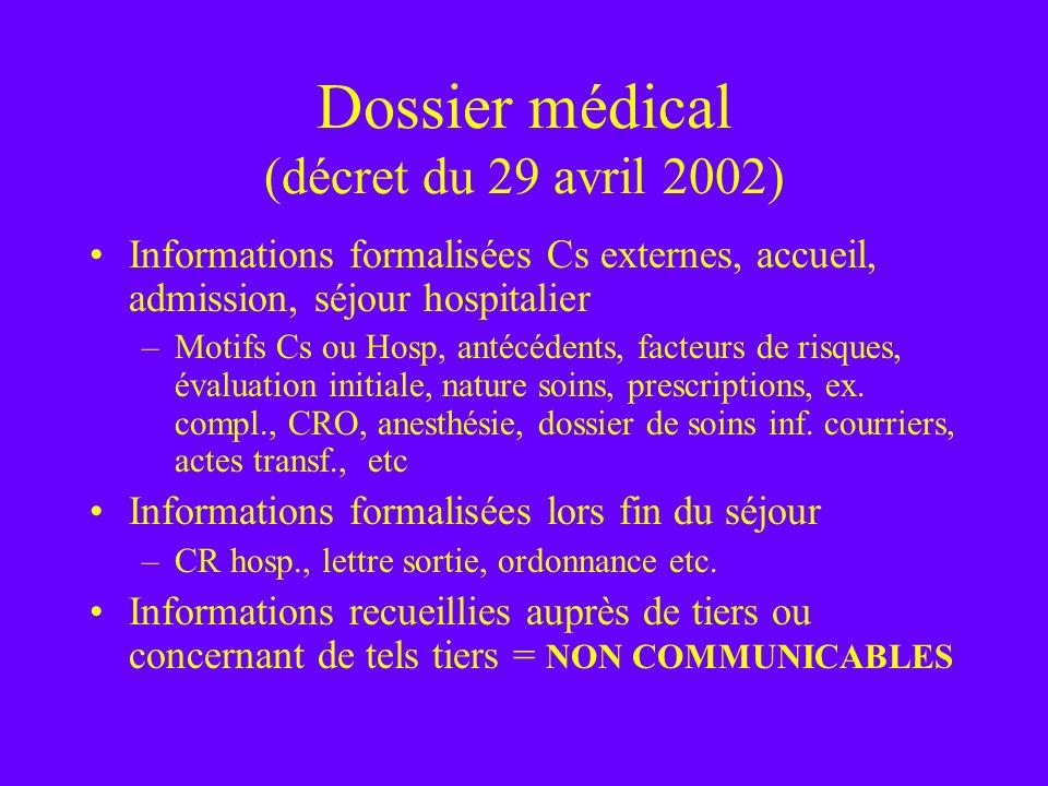 Dossier médical (décret du 29 avril 2002)