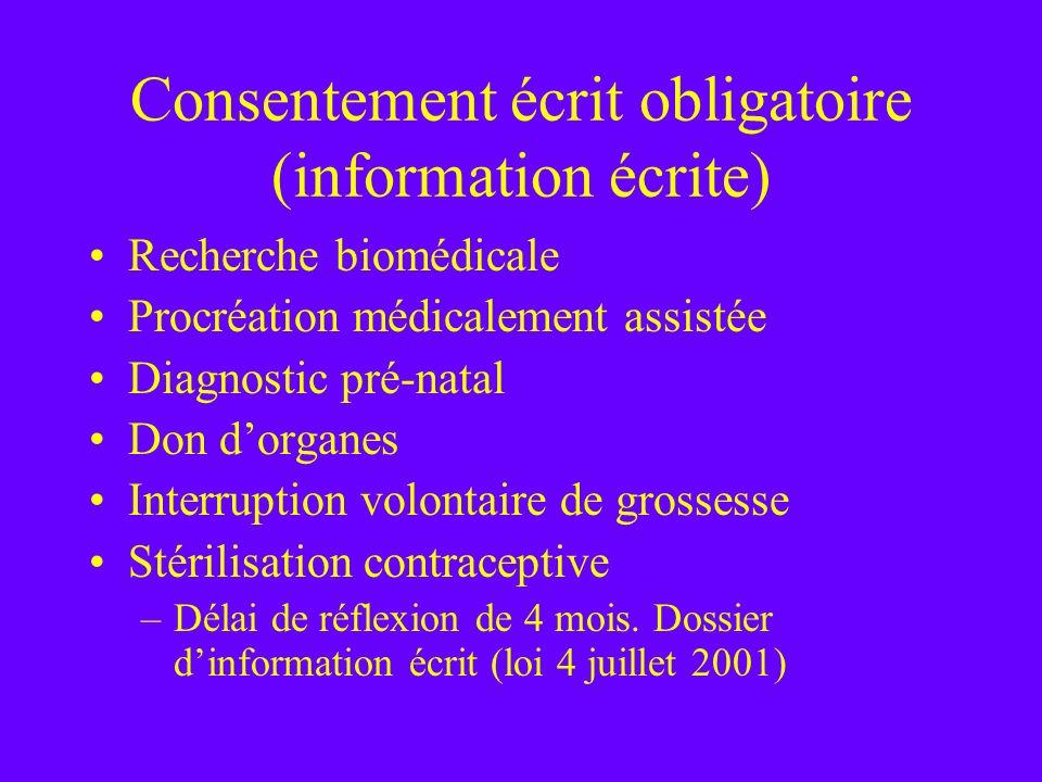 Consentement écrit obligatoire (information écrite)