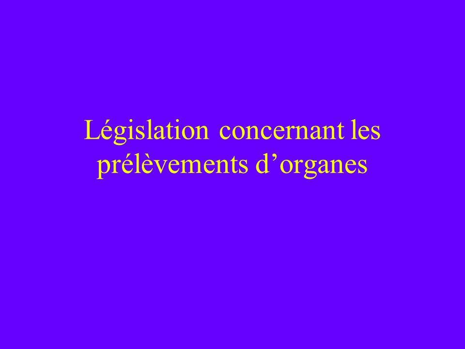 Législation concernant les prélèvements d'organes