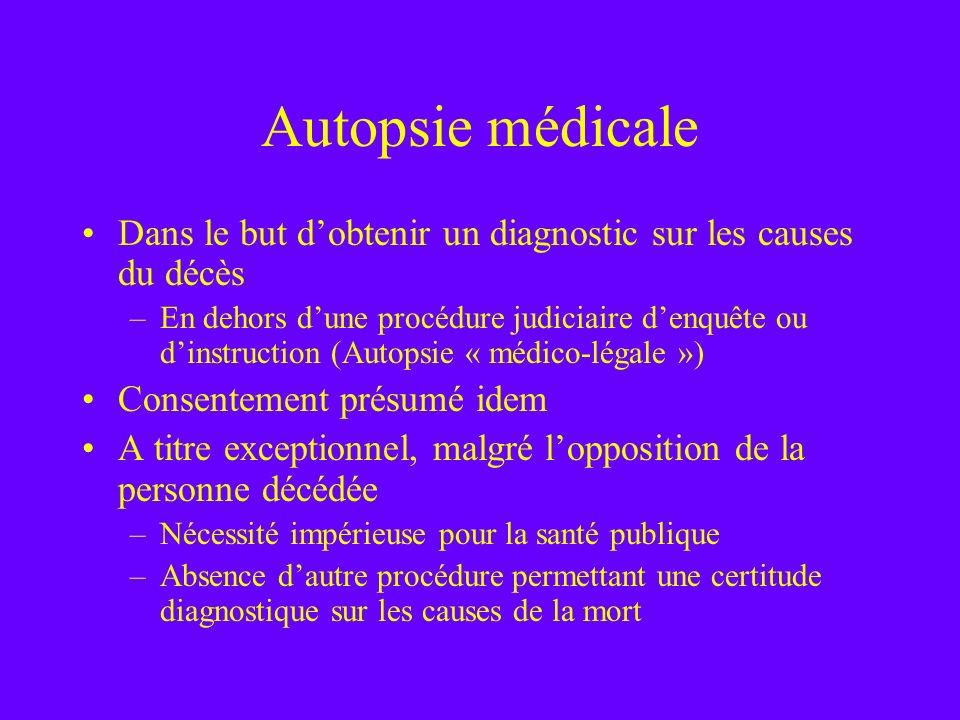 Autopsie médicale Dans le but d'obtenir un diagnostic sur les causes du décès.
