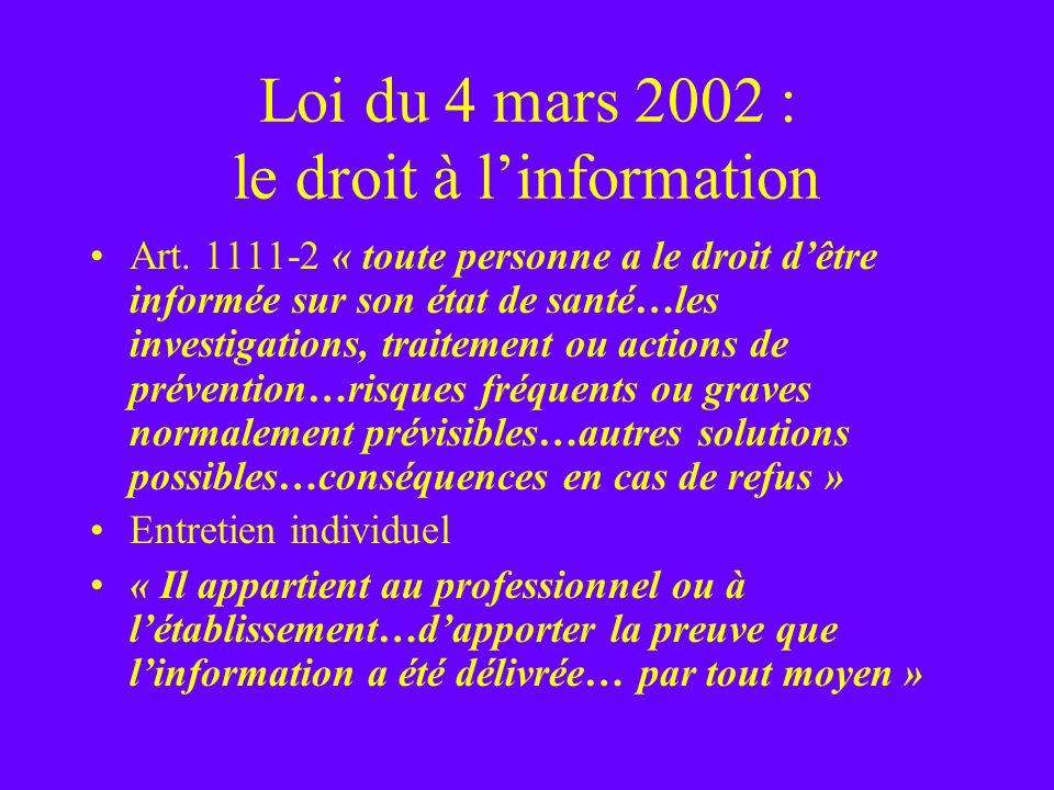 Loi du 4 mars 2002 : le droit à l'information