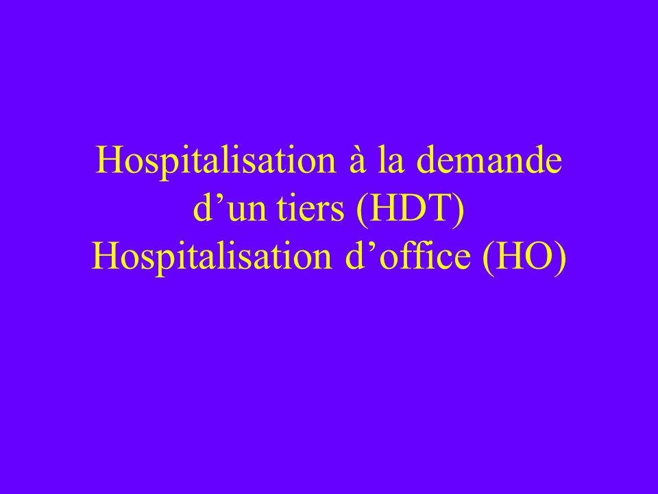 Hospitalisation à la demande d'un tiers (HDT) Hospitalisation d'office (HO)