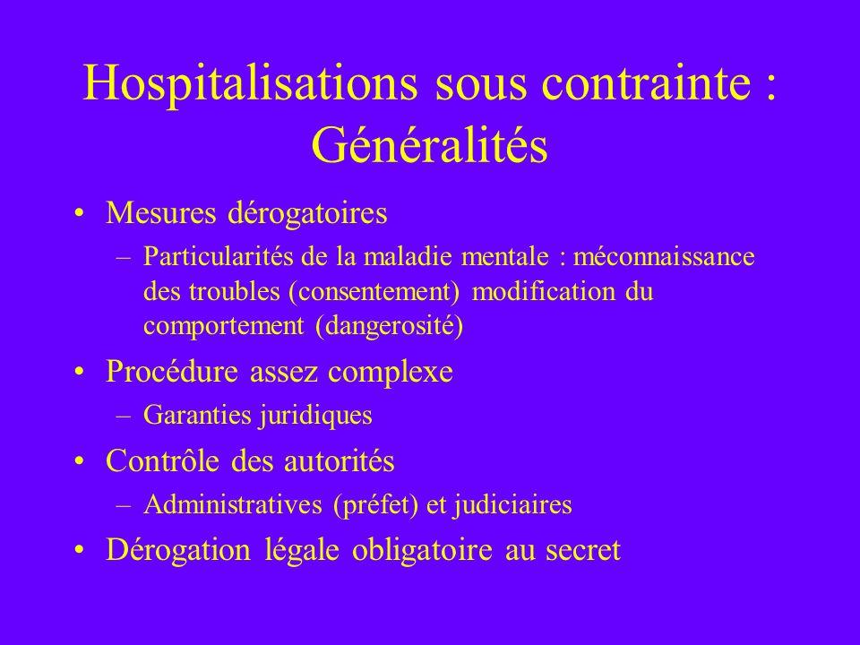 Hospitalisations sous contrainte : Généralités