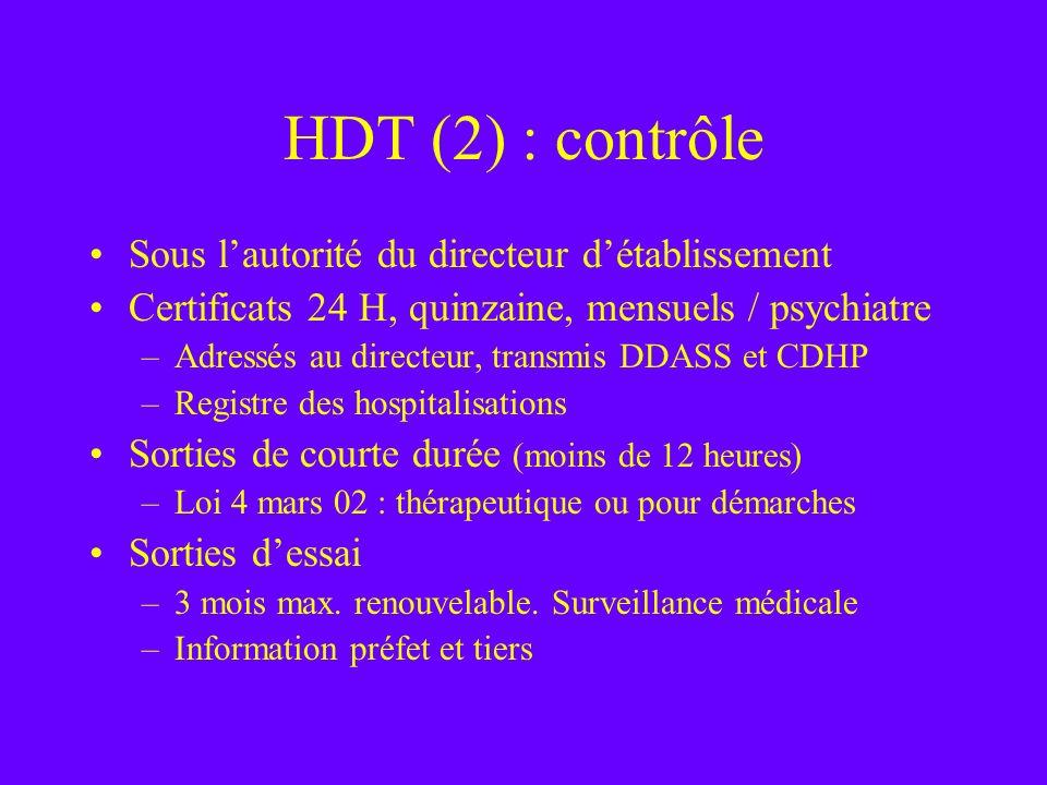 HDT (2) : contrôle Sous l'autorité du directeur d'établissement