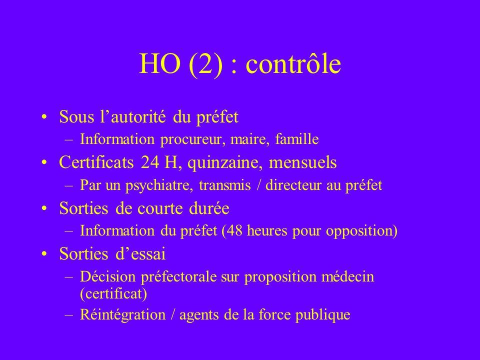 HO (2) : contrôle Sous l'autorité du préfet