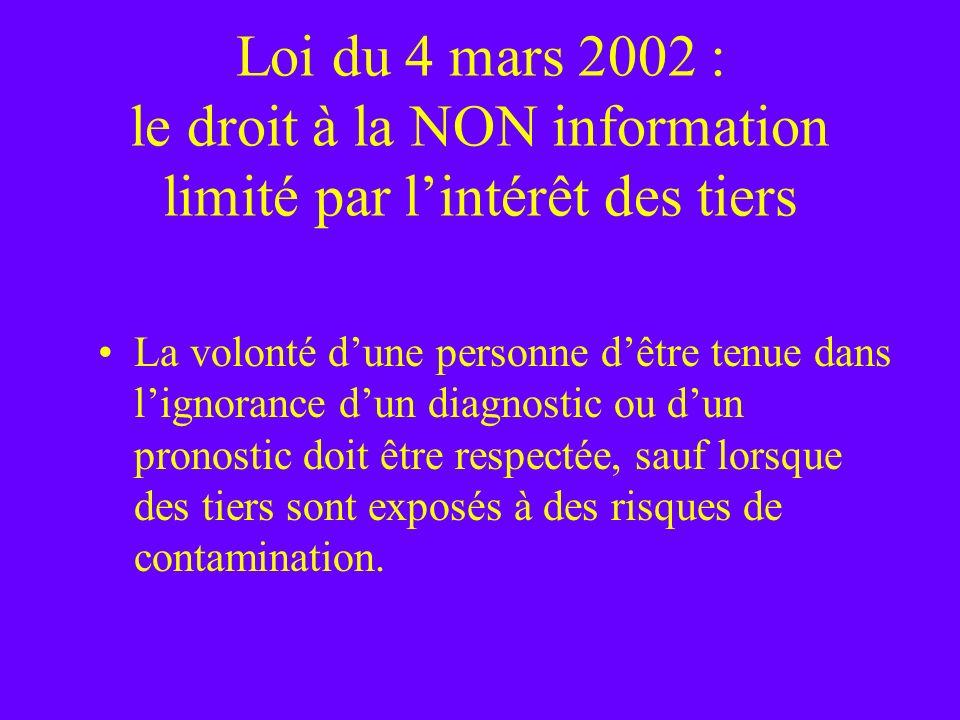 Loi du 4 mars 2002 : le droit à la NON information limité par l'intérêt des tiers