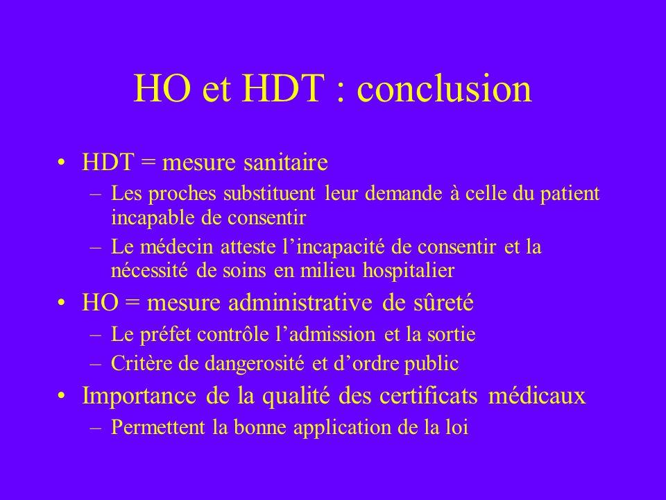 HO et HDT : conclusion HDT = mesure sanitaire