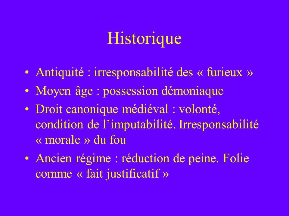 Historique Antiquité : irresponsabilité des « furieux »