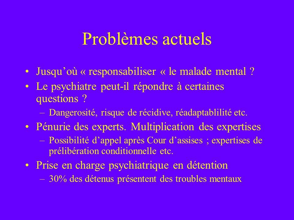 Problèmes actuels Jusqu'où « responsabiliser « le malade mental