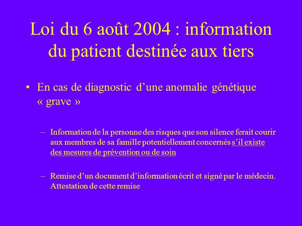 Loi du 6 août 2004 : information du patient destinée aux tiers