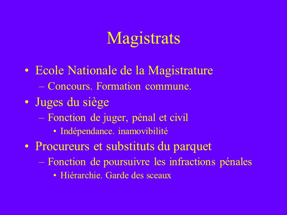 Magistrats Ecole Nationale de la Magistrature Juges du siège