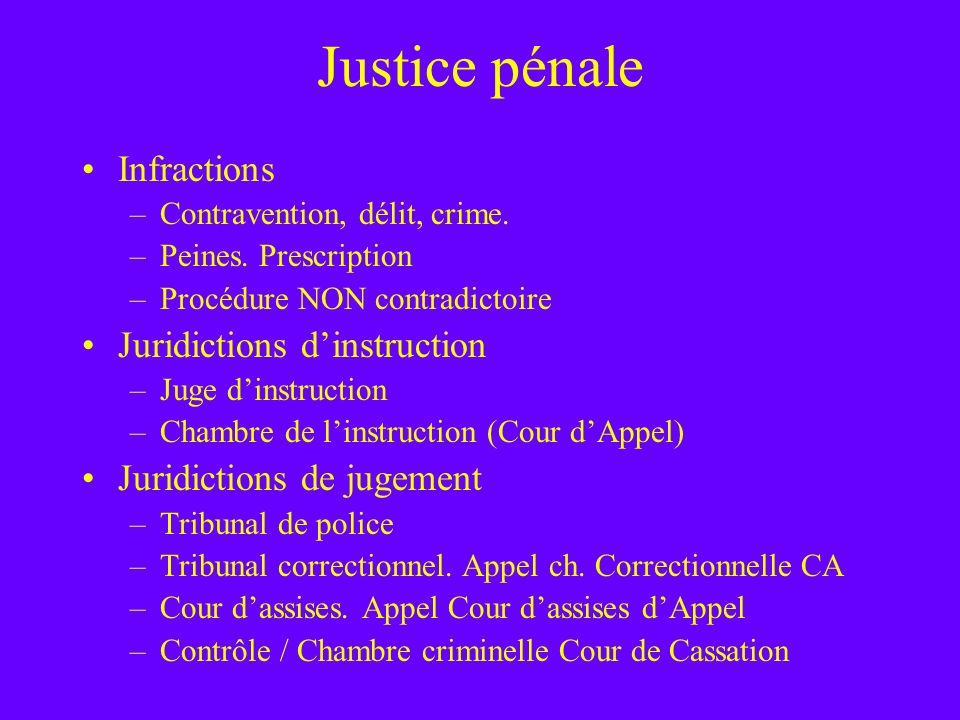 Justice pénale Infractions Juridictions d'instruction