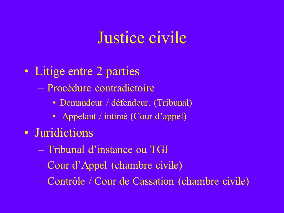 Justice civile Litige entre 2 parties Juridictions