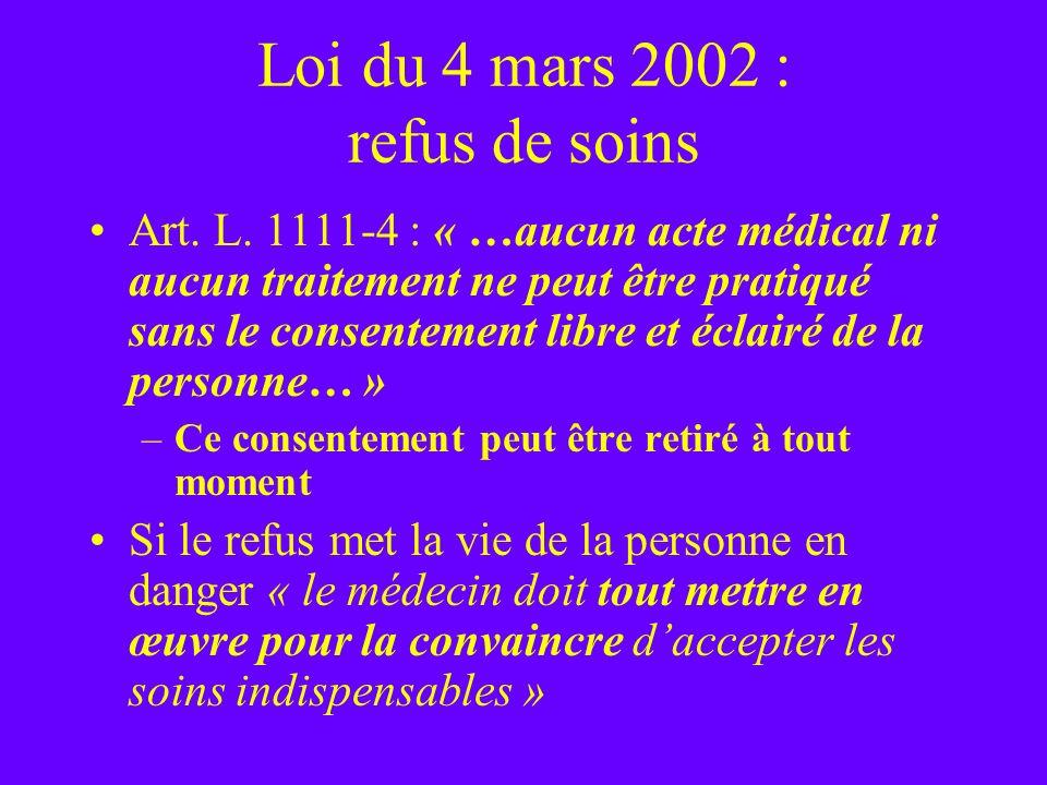 Loi du 4 mars 2002 : refus de soins