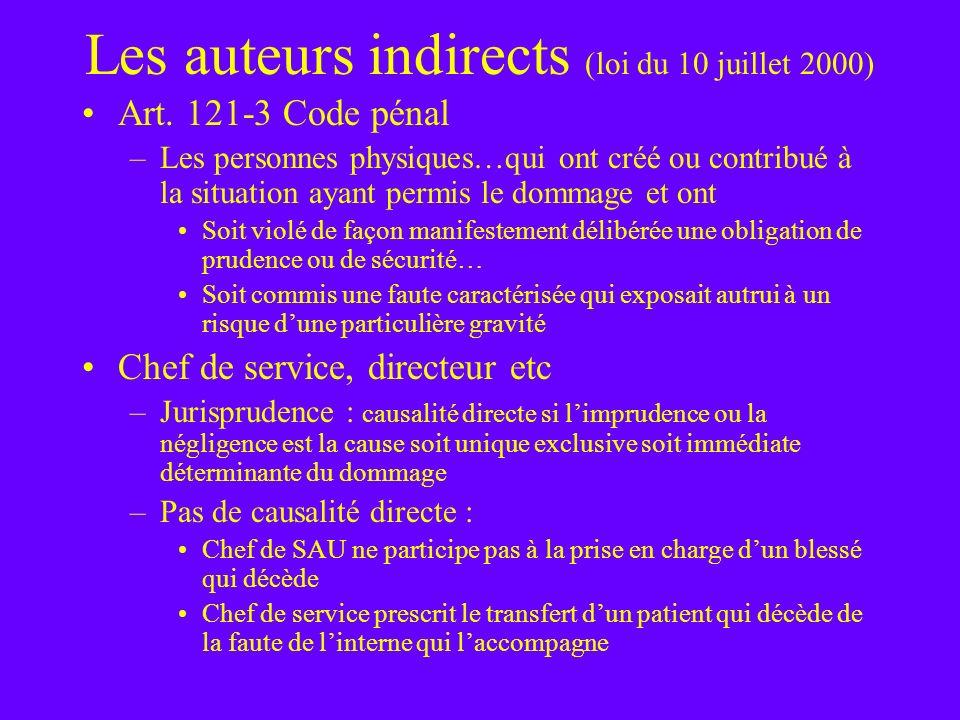 Les auteurs indirects (loi du 10 juillet 2000)