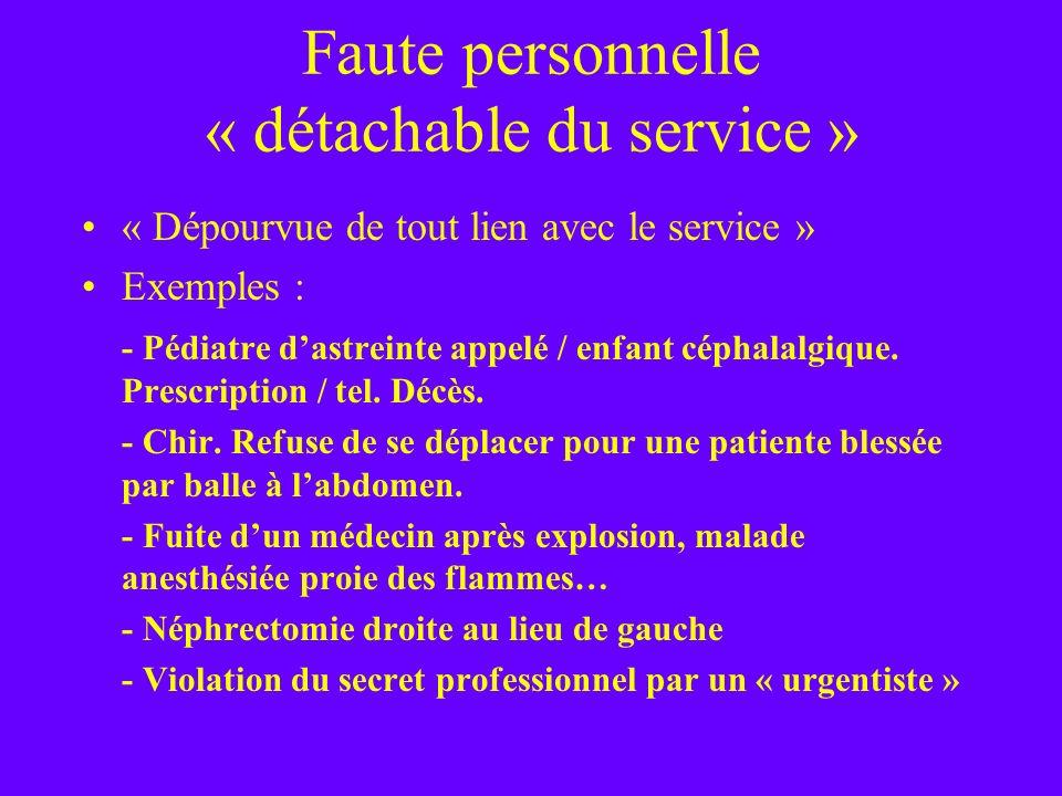 Faute personnelle « détachable du service »