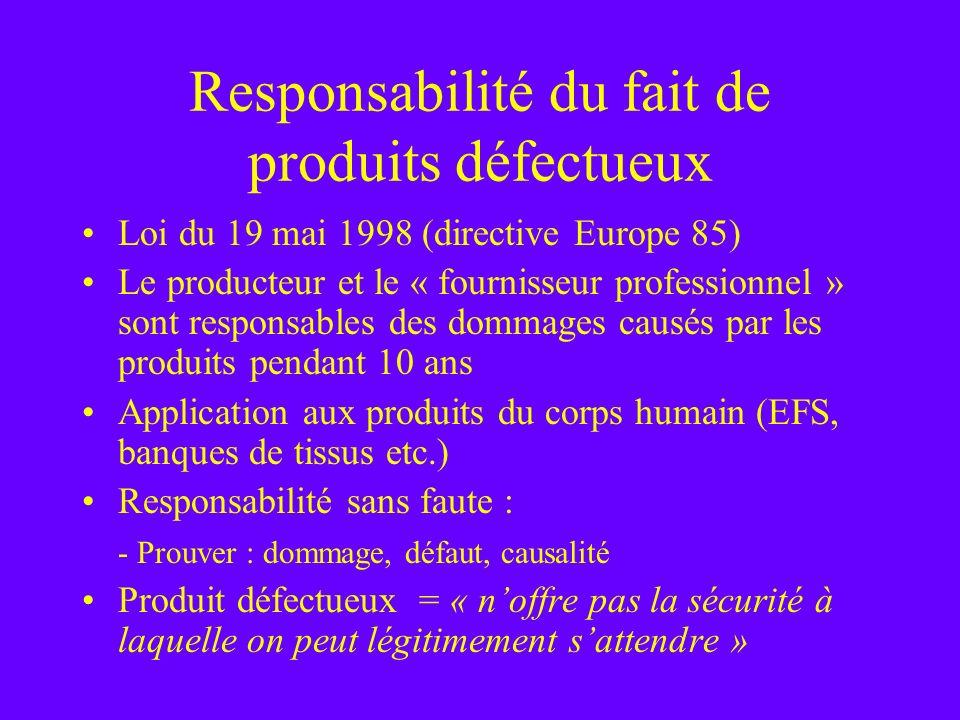 Responsabilité du fait de produits défectueux