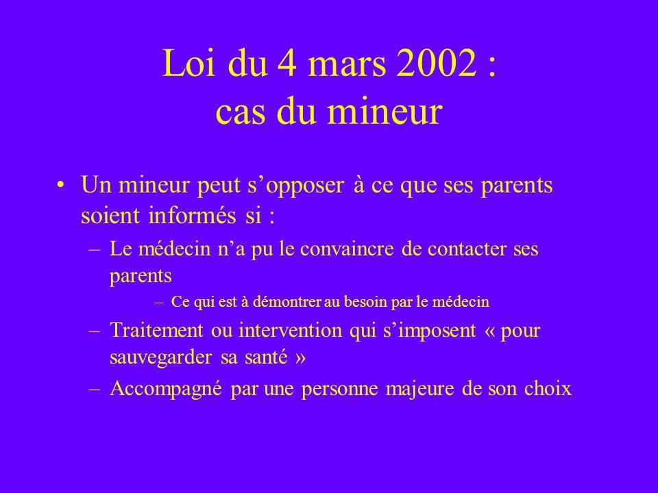 Loi du 4 mars 2002 : cas du mineur