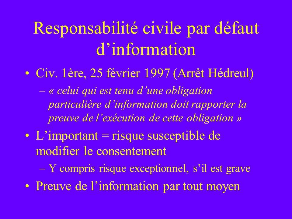 Responsabilité civile par défaut d'information