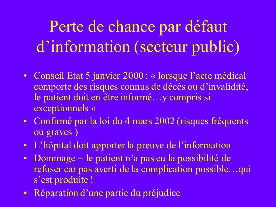 Perte de chance par défaut d'information (secteur public)