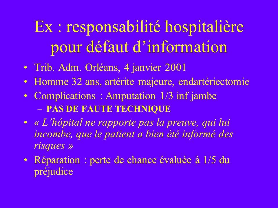Ex : responsabilité hospitalière pour défaut d'information