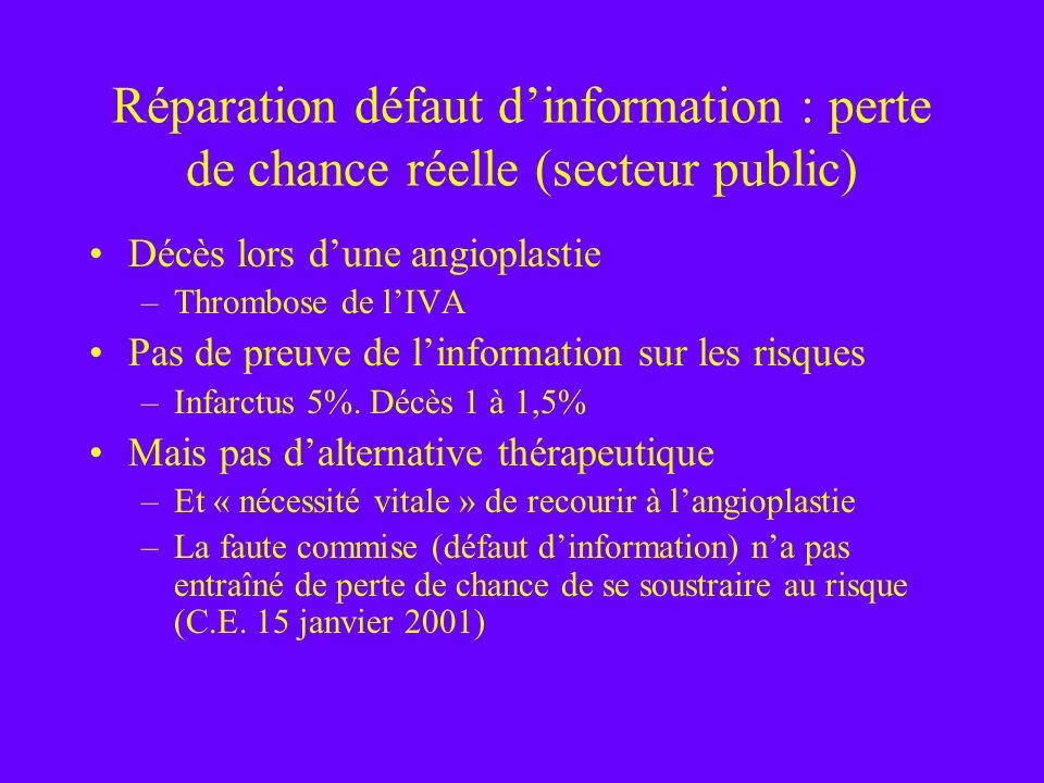 Réparation défaut d'information : perte de chance réelle (secteur public)