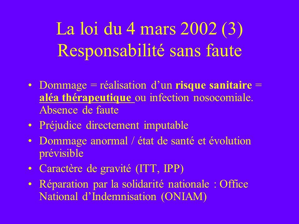 La loi du 4 mars 2002 (3) Responsabilité sans faute
