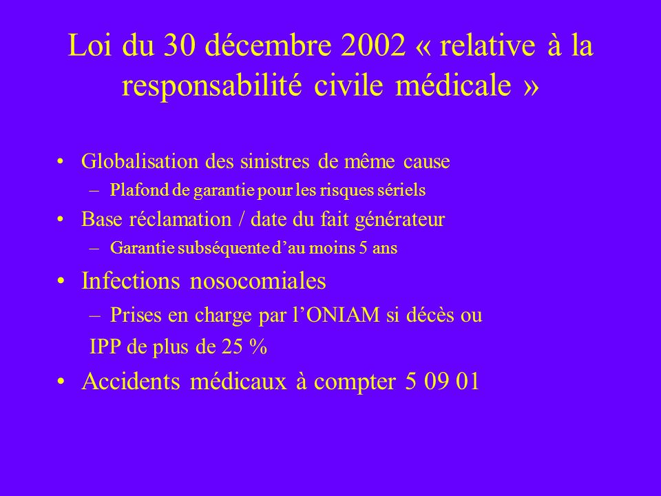Loi du 30 décembre 2002 « relative à la responsabilité civile médicale »