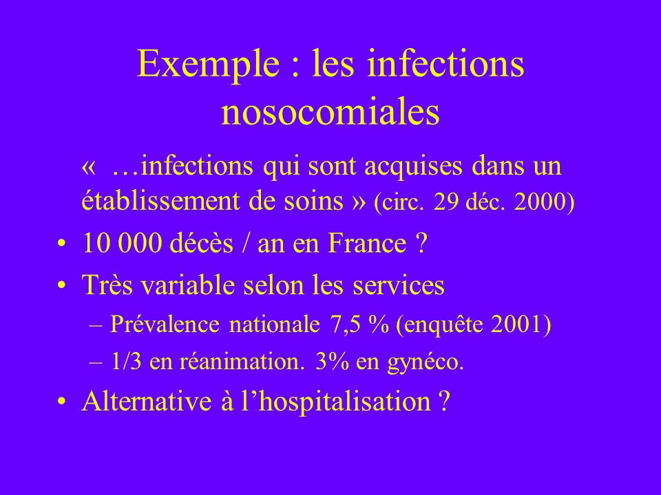 Exemple : les infections nosocomiales