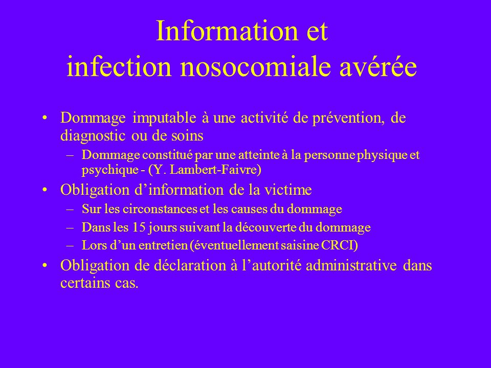 Information et infection nosocomiale avérée