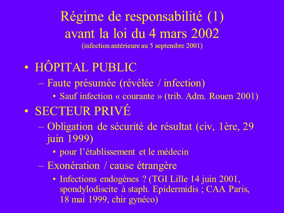 Régime de responsabilité (1) avant la loi du 4 mars 2002 (infection antérieure au 5 septembre 2001)