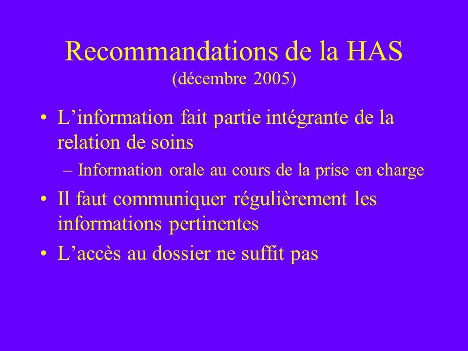 Recommandations de la HAS (décembre 2005)