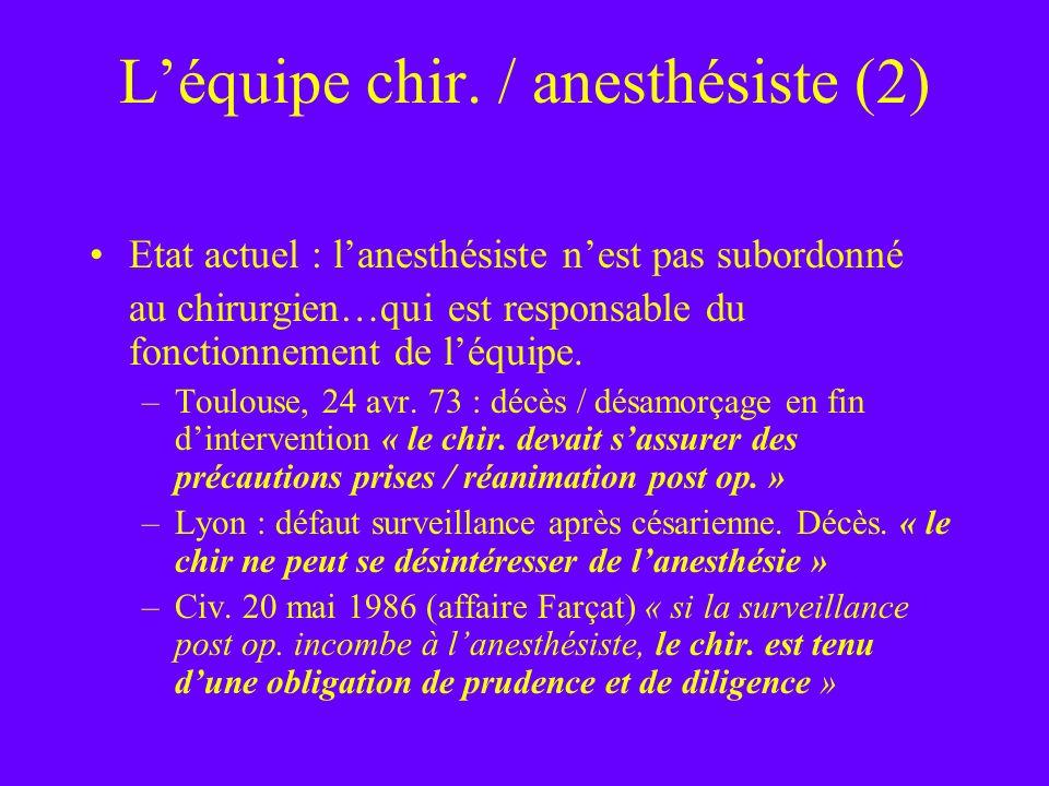 L'équipe chir. / anesthésiste (2)