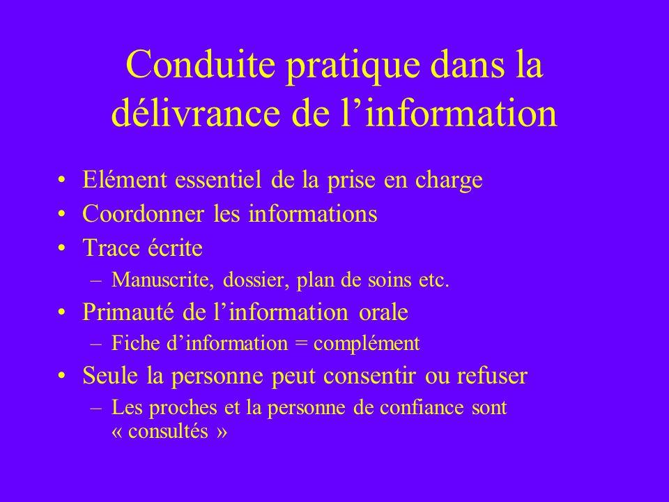 Conduite pratique dans la délivrance de l'information