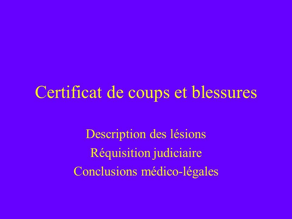 Certificat de coups et blessures