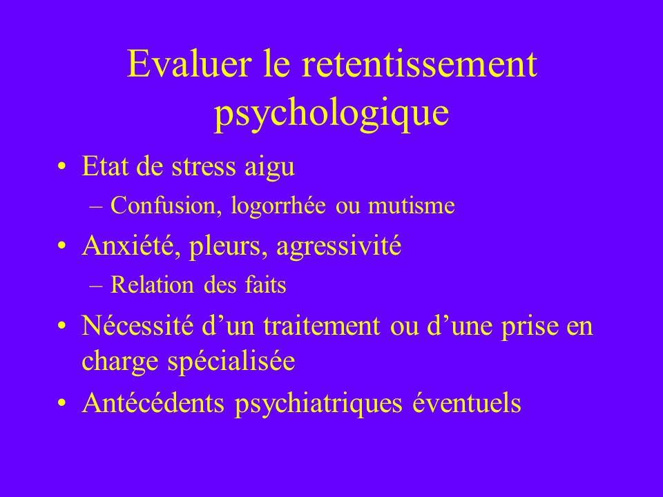 Evaluer le retentissement psychologique