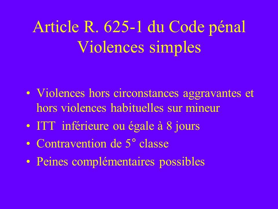 Article R. 625-1 du Code pénal Violences simples