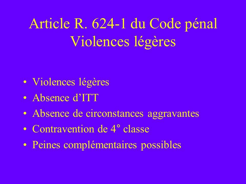 Article R. 624-1 du Code pénal Violences légères