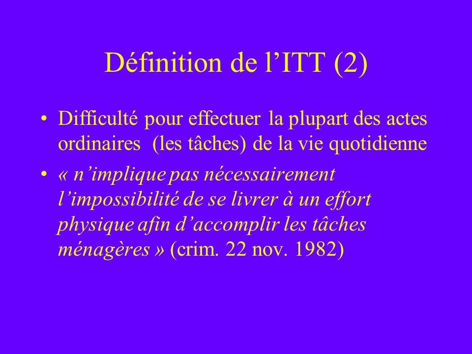 Définition de l'ITT (2) Difficulté pour effectuer la plupart des actes ordinaires (les tâches) de la vie quotidienne.