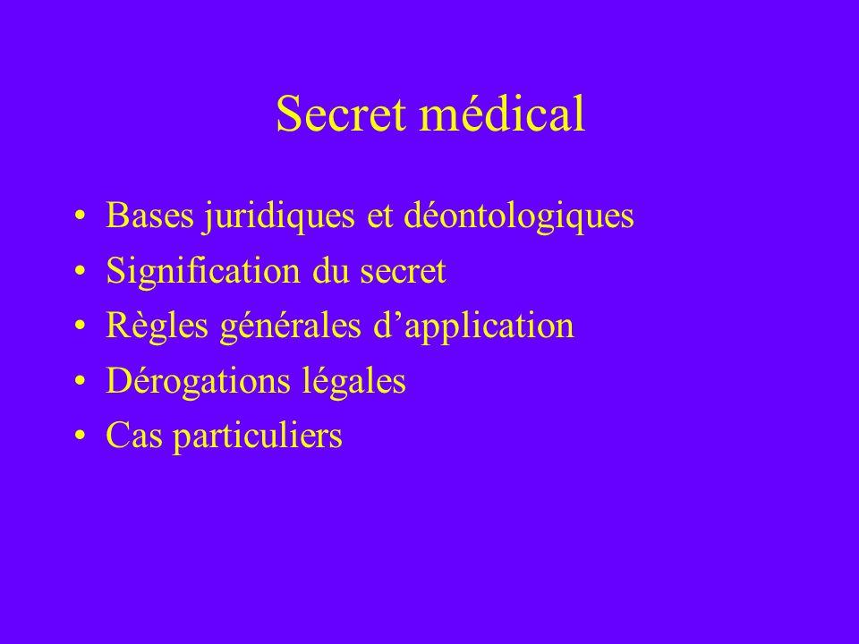 Secret médical Bases juridiques et déontologiques