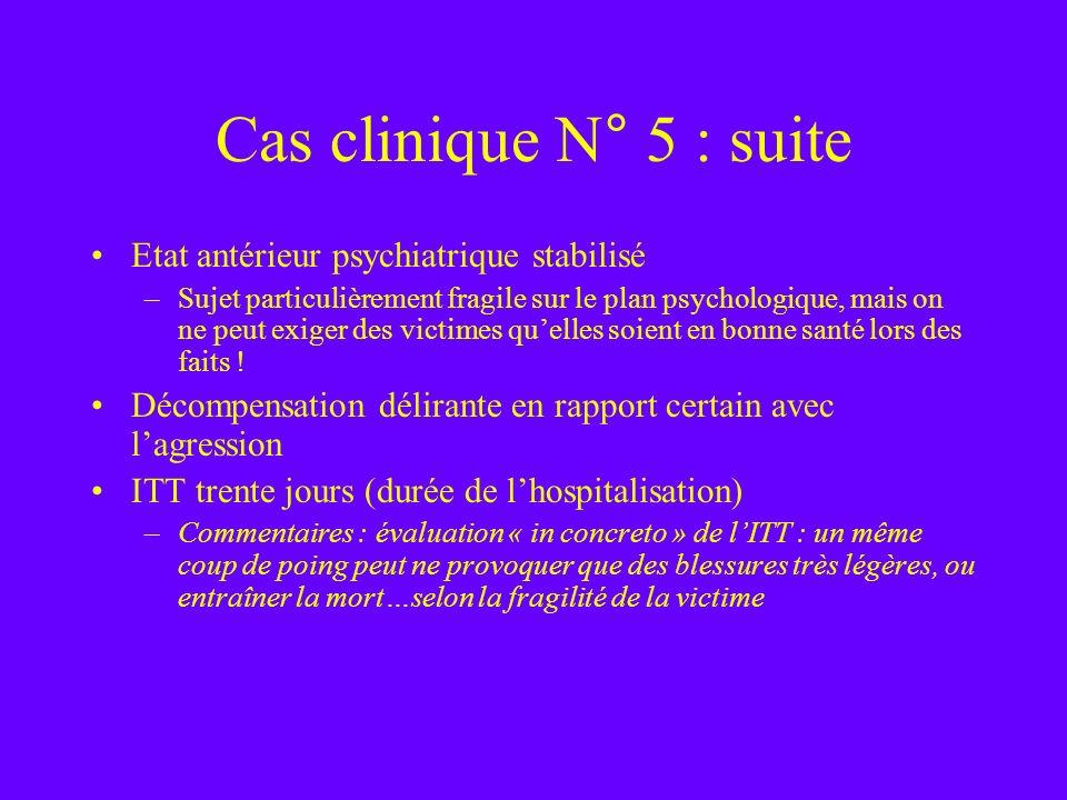 Cas clinique N° 5 : suite Etat antérieur psychiatrique stabilisé