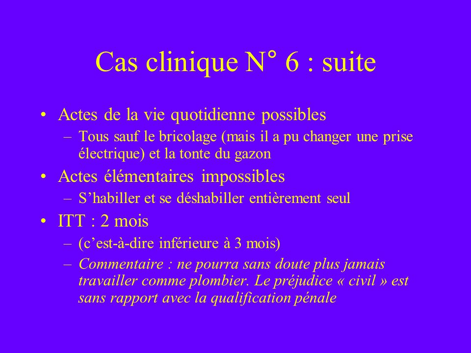 Cas clinique N° 6 : suite Actes de la vie quotidienne possibles