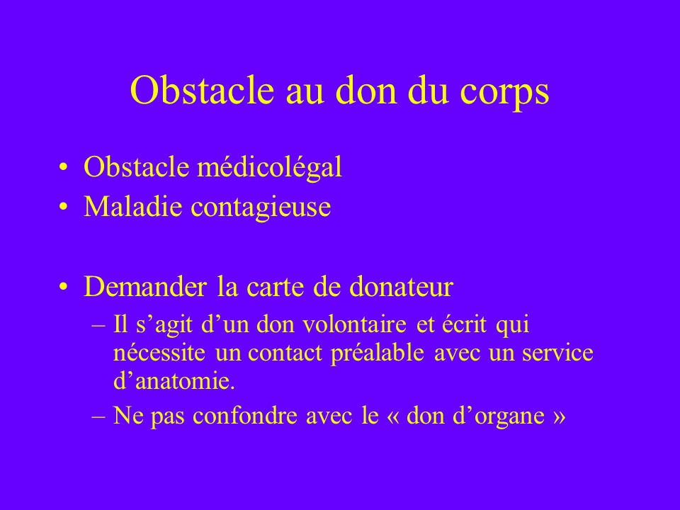 Obstacle au don du corps