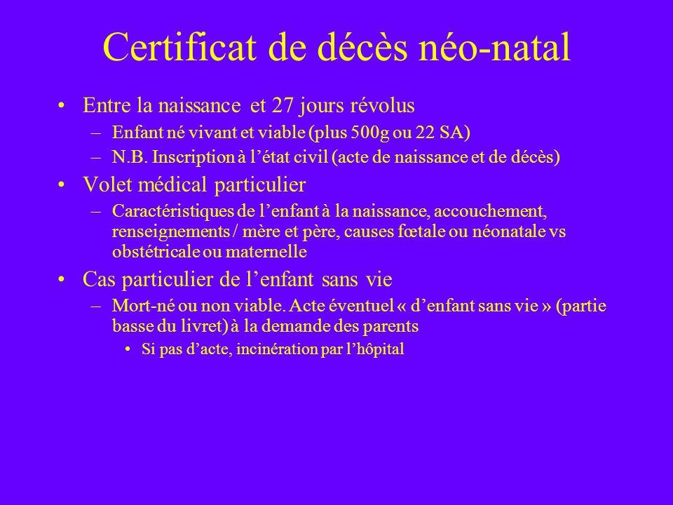 Certificat de décès néo-natal